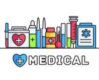 Dünne Linien Ikonen-Konzepthintergrund der Artmedizinischen ausrüstung gesetzter Auch im corel abgehobenen Betrag Lizenzfreie Stockbilder