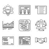 Dünne Linien Ikonen stellten vom Entwicklungsprozess, von der Produktschaffung und von den Förderungswerkzeugen, Websitenetz, Opt stock abbildung