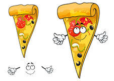 Dünne Scheibe der netten Karikatur des Pizzacharakters Stockbild