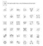 36 dünne schwarze moderne lineare Ikonen von arbeiten und Teamwork FO zusammen Lizenzfreies Stockbild