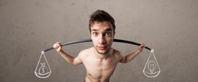 Dünner Kerl, der versucht, ausgeglichen zu erhalten Stockfotos