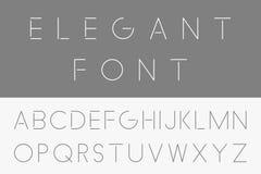 Dünner minimalistic Guss Vektorenglisches Alphabet stock abbildung