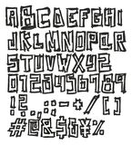 Dünner Pen Doodle Block Bold Vector-Guss mit Versalienbuchstaben, Zahlen u. Zeichen Lizenzfreie Stockfotografie