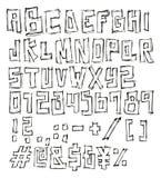 Dünner Pen Doodle Block Vector Font mit Versalienbuchstaben, Zahlen u. Zeichen Stockfoto