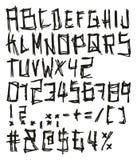Dünner Pen Doodle Bold Freehand Vector-Guss mit Versalienbuchstaben, Zahlen u. Zeichen Stockbilder