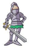 Dünner Ritter der Karikatur in der Rüstung Stockfotografie