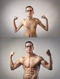 Dünner und muskulöser Mann Lizenzfreie Stockfotos