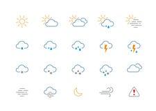 Dünner Wetterfarbikonensatz Stockbilder