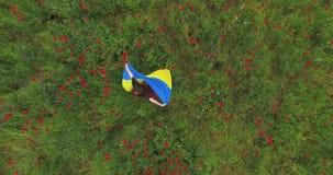 Dünnes Mädchen im roten Kleidertanzen in einer Mohnblumenfeld-Holdingflagge von Ukraine in den Händen Verbindung mit Natur, Patri stock footage