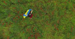 Dünnes Mädchen im roten Kleidertanzen in einer Mohnblumenfeld-Holdingflagge von Ukraine in den Händen Verbindung mit Natur, Patri stock video