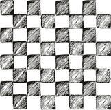 Dünnes Pen Doodle Checkered Simple Seamless-Vektor-Muster oder nahtloser Vektor-Hintergrund Lizenzfreie Stockfotografie