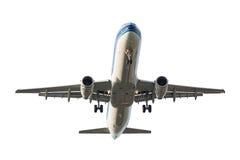 Düsenflugzeug lokalisiert auf weißem Hintergrund Stockfotografie