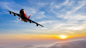 Düsenflugzeug manövriert lizenzfreie stockbilder