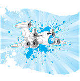 Düsenflugzeug mit Lautsprechern auf ihm ist Flügel Lizenzfreie Stockfotos