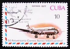 Düsenflugzeug und Havana-Madrid-Gütesiegel, Apr 26, 1948, des internationalen Reihe Luftpostverkehrs, 50. Jahrestag, circa 1977 Stockbilder