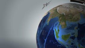 Düsenflugzeuge fliegen rund um den Globus von der Erde lizenzfreie abbildung