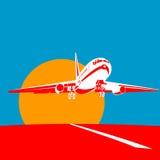 Düsenflugzeugstart Stockfotografie
