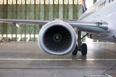 Düsentriebwerk an den Flugzeugen lizenzfreie stockbilder