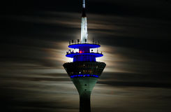 Düsseldorf. The düsseldorf rhine tower in the moonlight Royalty Free Stock Image