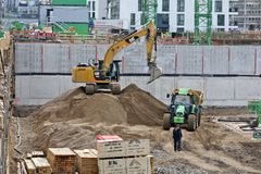 Düsseldorf, Germany - Construction boom. DUESSELDROF,GERMANY - JANUARY 16: Construction boom - here new residential building in the city of Duesseldorf, Germany Stock Photography