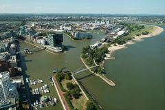 Aerial view of Düsseldorf, Germany. Düsseldorf, Germany. Photographed from the top of the Rheinturm stock photo