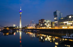 Düsseldorf Media Harbor at Night. Night scene of the Media harbour in Düsseldorf at night Royalty Free Stock Images