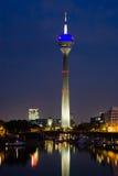 Düsseldorf Media Harbor at Night. Night scene of the Media harbour in Düsseldorf at night Stock Photo