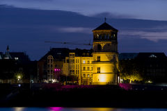 Düsseldorf Palace Tower. Düsseldorf, Germany - October 4, 2015: Riverside illuminated palace tower at old town district of Düsseldorf, North-Rhine Westphalia Stock Image