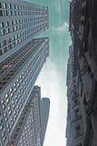Düstere Tage in Wall Street-Gebäuden Stockfotos