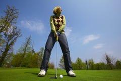 dążąca kursu golfa kobieta Fotografia Stock