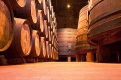 Dębowe Portowego wina baryłki, Porto Zdjęcia Stock