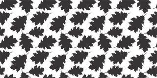 Dębowej czarny i biały liść sylwetki bezszwowy wzór Obrazy Stock