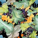 Dębowy liścia wzór w akwarela stylu Obraz Stock