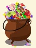 Dęciak wypełniał z cukierkami, jabłka, czekolada Symbol Halloween również zwrócić corel ilustracji wektora Fotografia Royalty Free
