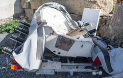 Dęta gumowa łódź na brzeg w porcie Obraz Royalty Free