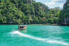 Długa łódź jedzie w kierunku plażowego i nabrzeżnego lasu fotografia stock