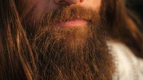 Długa broda i włosiany mężczyzna zbiory wideo