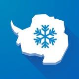 Długa cień mapa Antarctica kontynent z śnieżnym płatkiem royalty ilustracja