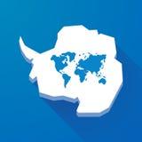 Długa cień mapa Antarctica kontynent z światową mapą ilustracji