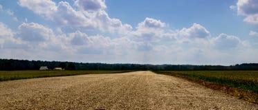Długa Osamotniona droga w Parke okręgu administracyjnym Indiana na chłodno jesień dniu zdjęcia stock