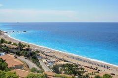 Długa piaskowata plaża na Lefkada wyspie obrazy royalty free