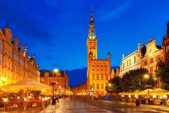 Długa Targowa ulica z urzędem miasta, Gdańskim, Polska Fotografia Royalty Free