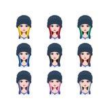 Długa z włosami dziewczyna z beanie - 9 różnych włosów kolorów Zdjęcie Stock
