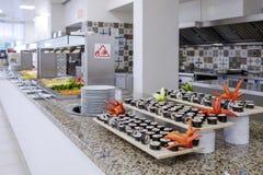 Długi bufet z japońską kuchnią 3 fotografia stock