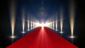 Długi czerwony chodnik z światłami reflektorów ilustracji