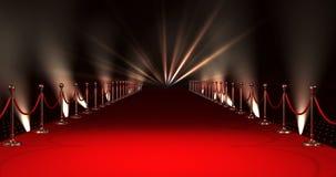 Długi czerwony chodnik z światłami reflektorów przeciw czerwonemu tłu ilustracja wektor