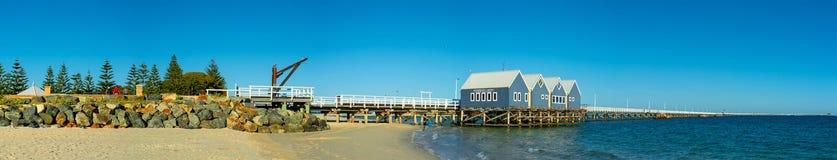 Długi drewniany jetty w południowej półkuli Obrazy Royalty Free