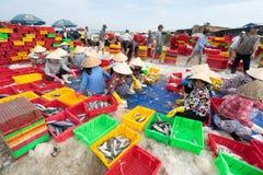 DŁUGI HAI, VUNG TAU, WIETNAM - 03 2016 LIPIEC: Rybi sprzedawcy w Długim Hai rynku przygotowywają morskiej ryba dla ranku rynku Fotografia Royalty Free