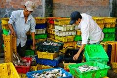 Długi Hai Wietnam, Dec, - 29, 2014: Osoby życie codzienne, wioska rybacka z mnóstwo ryba w połowu koszu przy tradycyjnym Obraz Stock
