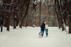 Długi horyzontalny widok rozochocona całowanie para prowadzi uroczego siberian husky wzdłuż śnieżnej ścieżki w Fotografia Stock